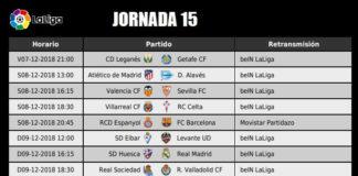 Jornada 15 Liga Santander 2018