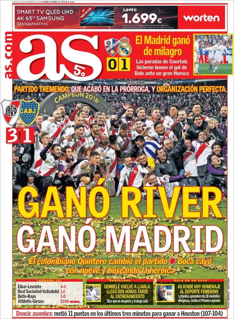 Portad as River Campeón Libertadores en el Bernabéu