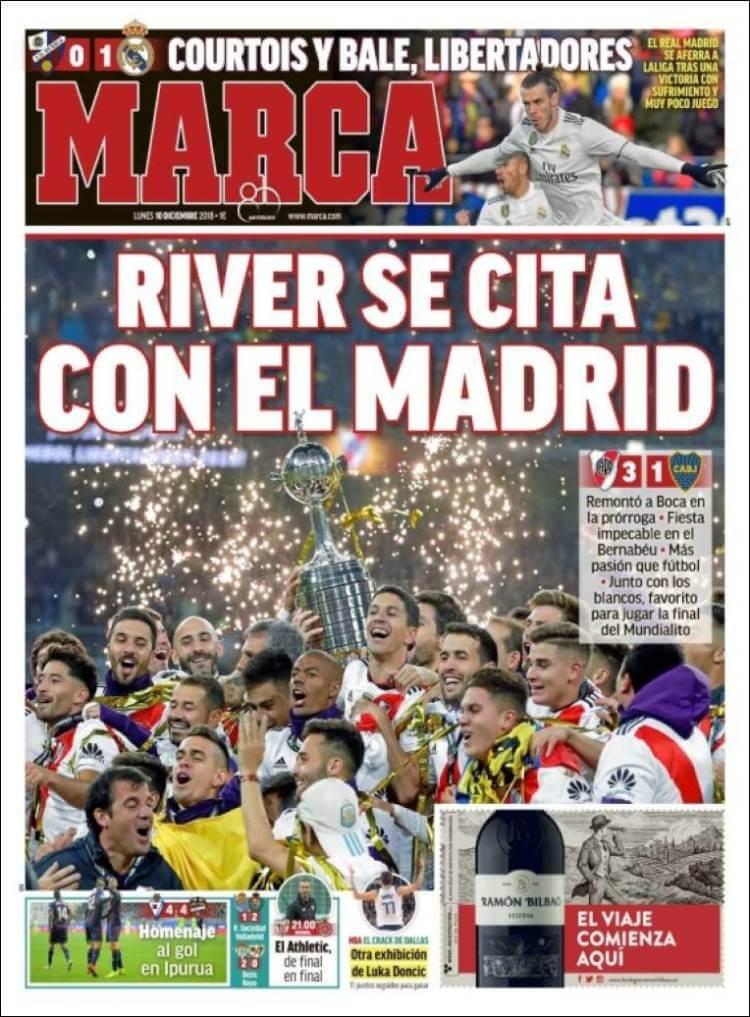 Portada Marca River Campeón Libertadores en el Bernabéu