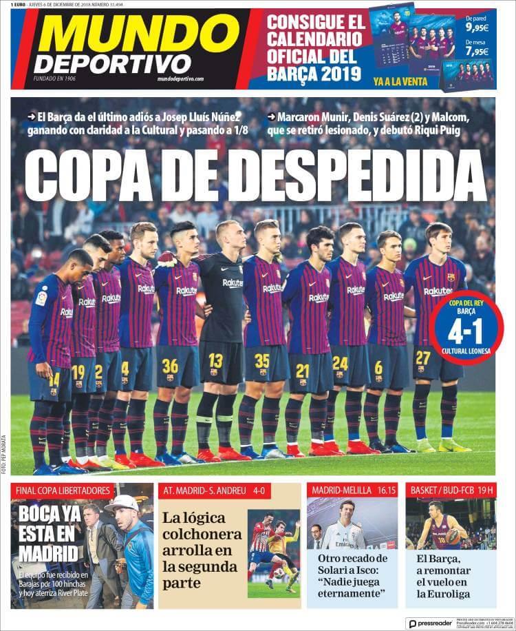 Portada Mundo Deportivo 6/12/2018