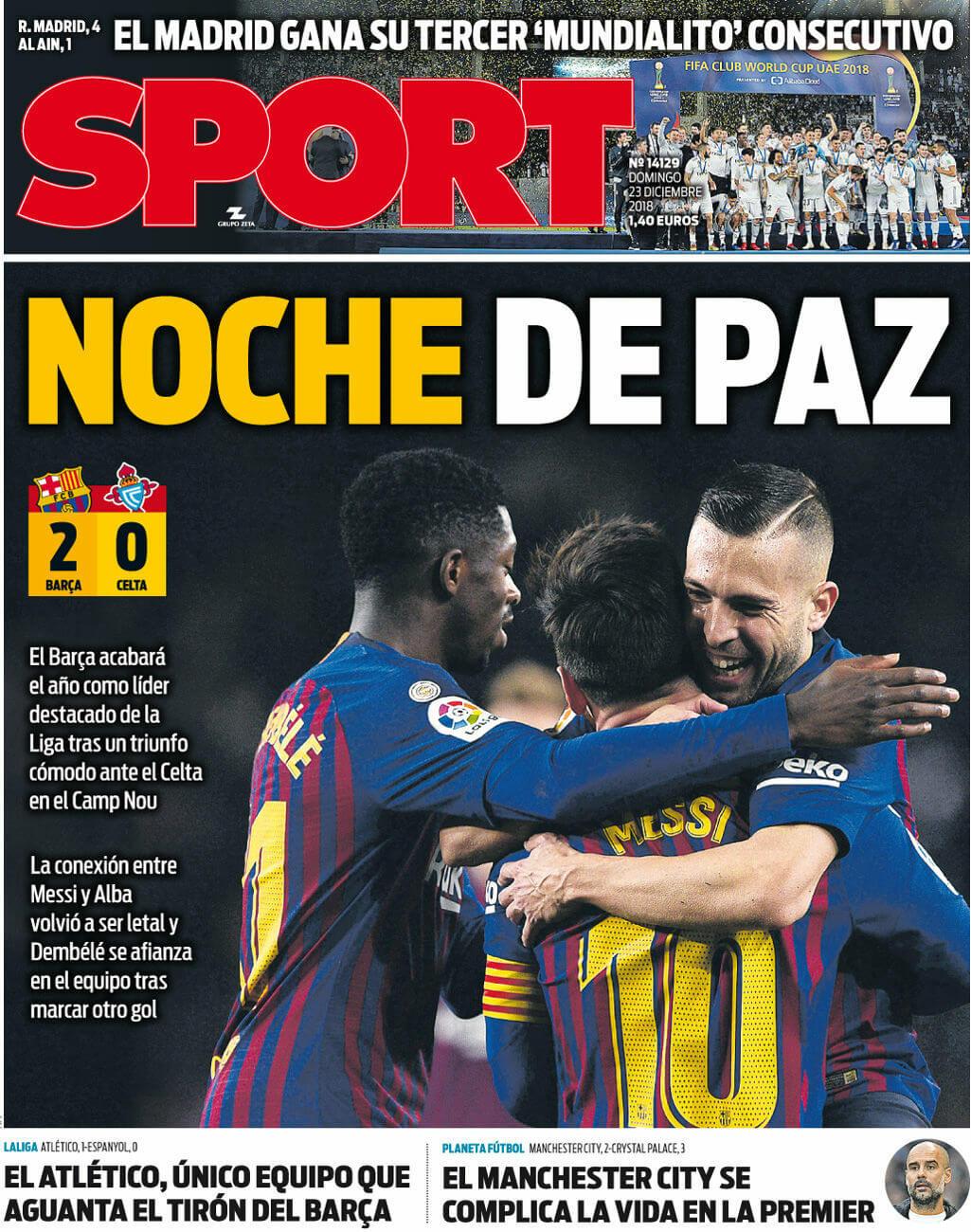 Portadas Sport 23/12/2018