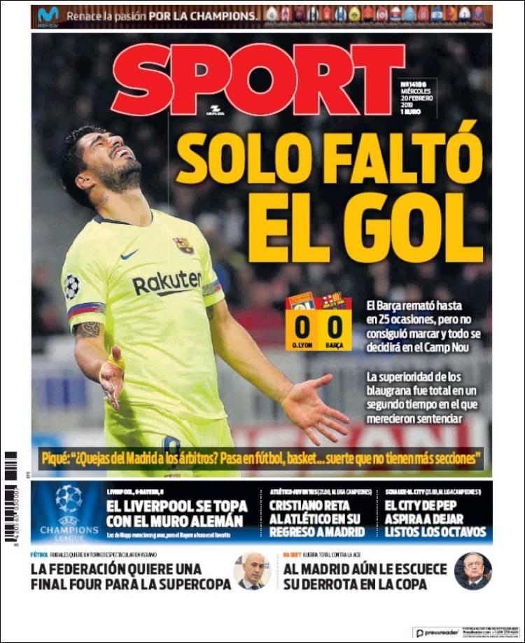 Portada del Periódico Sport