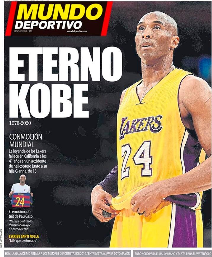Portada Mundo Deportivo muere Kobe Bryant
