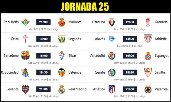 Partidos Jornada 25 Liga Española 2020