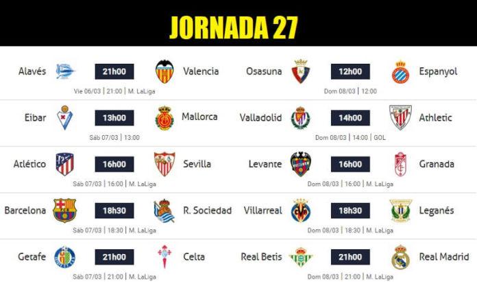 Partidos Jornada 27 Liga Española 2020