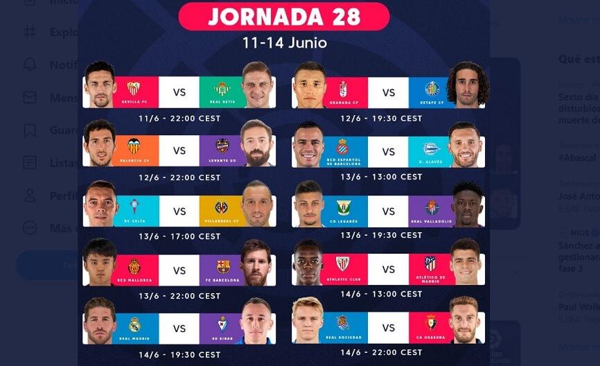 Partidos Jornada 28 Liga Española 2020 | Horarios, Posiciones