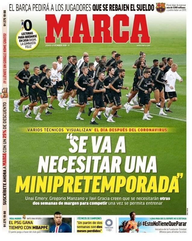Portadas Diarios Deportivos Sábado 21/03/2020
