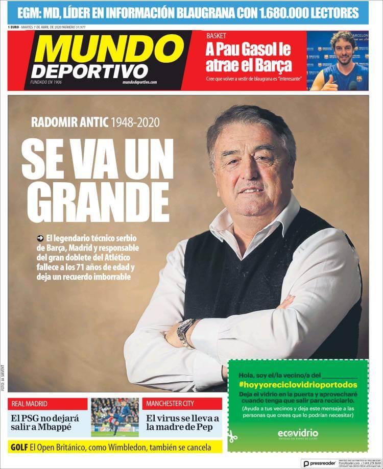 Portadas Diario Mundo Deportivo Martes 7/04/2020