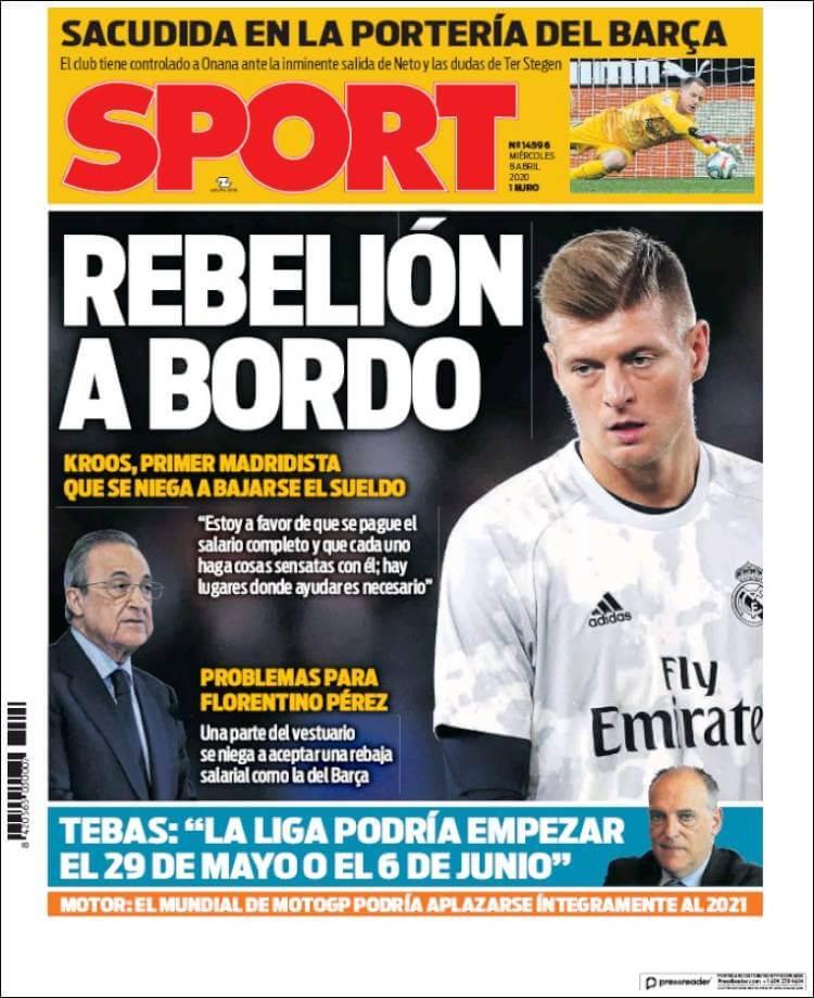 Portadas Diarios Deportivos Miércoles 8/04/2020