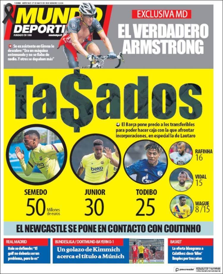 Portadas Diarios Deportivos Miércoles 27/05/2020