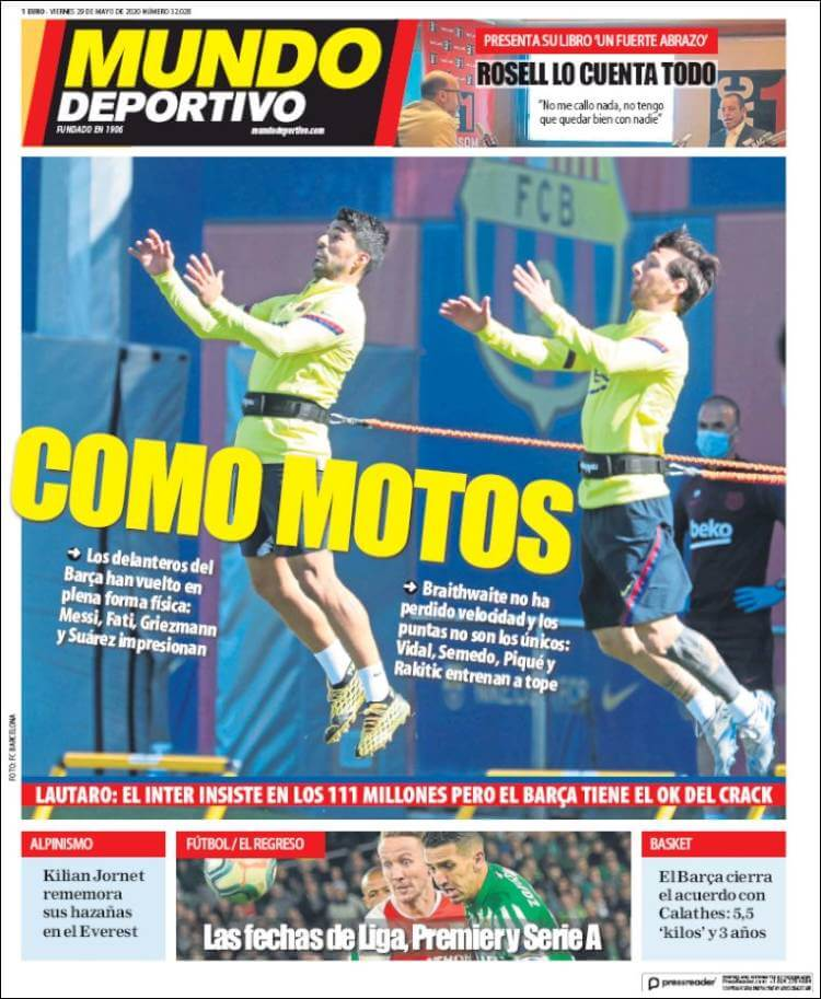 Portadas Diarios Deportivos Viernes 29/05/2020