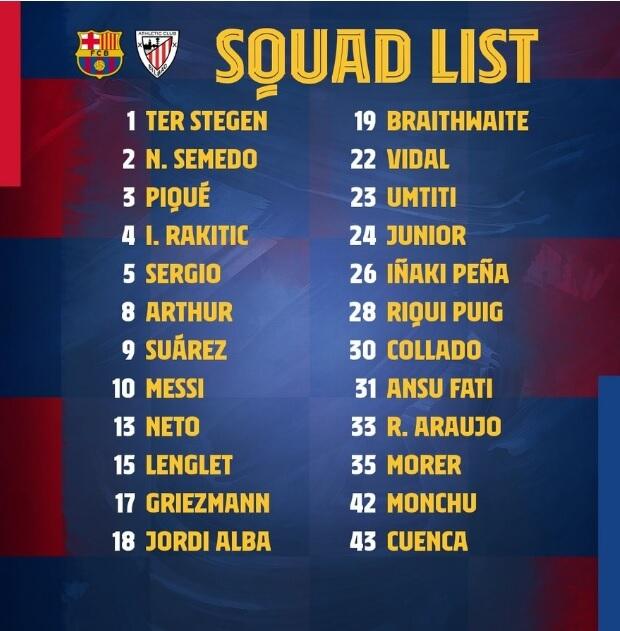 Los 23 Convocados para el Barça-Athletic