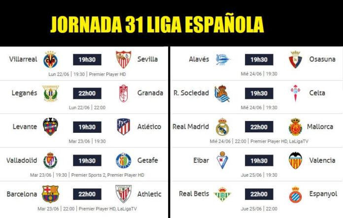 Partidos Jornada 31 Liga Española 2020   Horarios y Clasificación