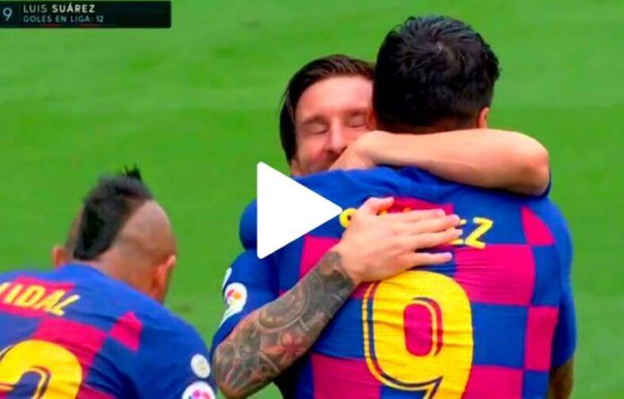 ¡Golazo de Luis Suárez con gran Asistencia de Messi!