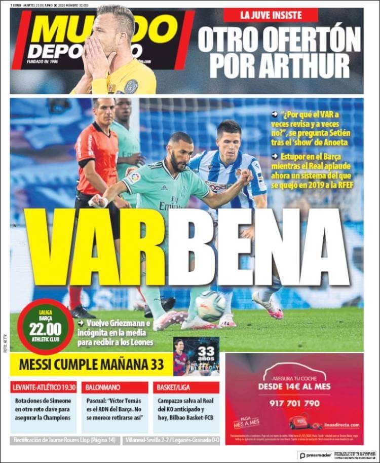 Portadas Diarios Deportivos Martes 23/06/2020   Marca, As, Sport, Mundo Deportivo