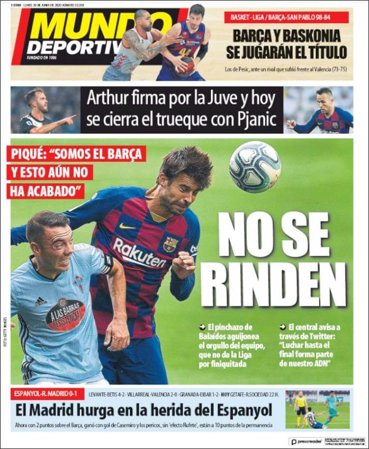 Portadas Diarios Deportivos Lunes 29/06/2020