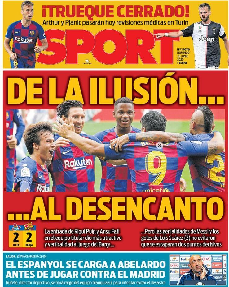 Portadas Diarios Deportivos Domingo 28/06/2020