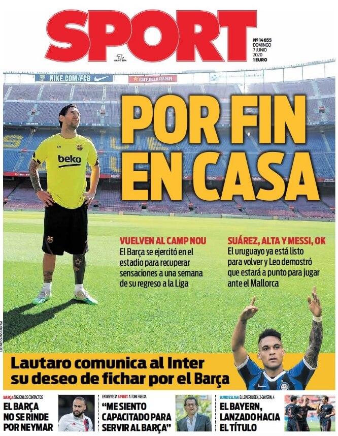 Portadas Diarios Deportivos Domingo 7/06/2020